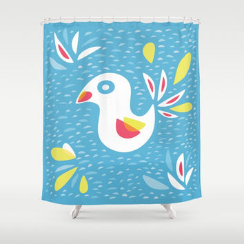 Abstract Bird In Spring Shower Curtain by borianagiormova