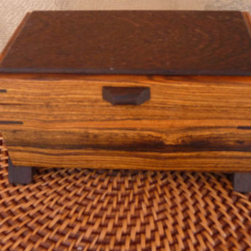 Handcrafted Bocote and Wenge Wood Jewelry/ Keepsake Box
