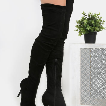 Stiletto Pointy Toe Suede Boots BLACK | MakeMeChic.COM