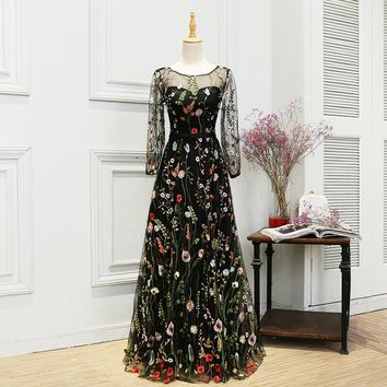 Long sleeve black floor length embroidered draped A-line gown/ formal dress   Sizes:  4-14