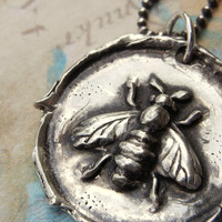 Sterling Silver Wax Seal Necklace, Honey Bee Necklace by HappyGoLicky Jewelry