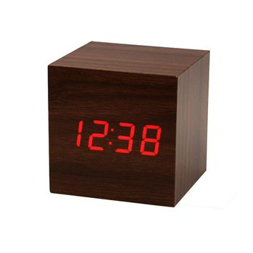 Zero Mini Cube Style Digital Red LED Wooden Wood Desk Alarm Brown Clock Voice Control