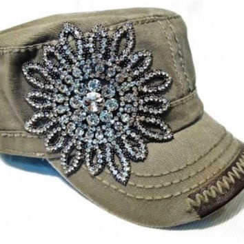 Gray Striped Hat with Rhinestone Flower