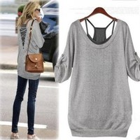 Casual Gray Shirt and Black Tanks | yomico