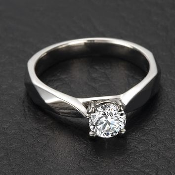 4-Claw Classical GIA Diamond Solitaire Engagement Ring for Women 0.43ct GIA Diamond Jewelry Wedding Band Handmade