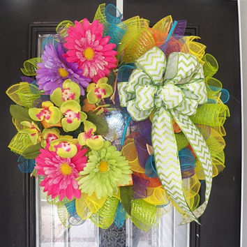 Deluxe Deco Mesh Floral Wreath, Door Hanger, Summer Decoration Ready To Ship