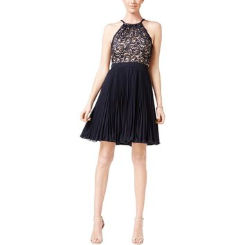 Xscape Womens Pleated Lace Semi-Formal Dress