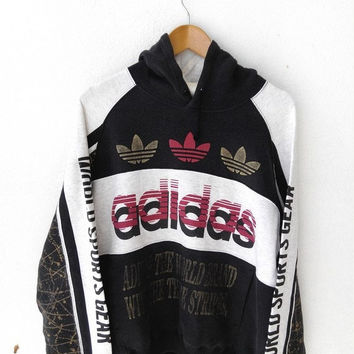 25% SALE Vintage ADIDAS RUN Dmc Big Logo 90's Sweater Hooded Hoodie Hip Hop Sweatshirt Jacket M