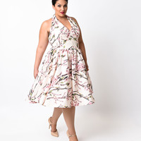 Iconic by UV Plus Size Ivory Floral Halter San Vicente Swing Dress