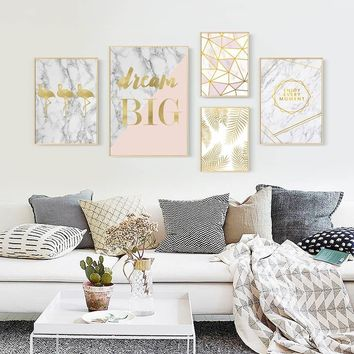 Nordic Gold Flamingo Posters And Prints Wall Art Print Painting On Canvas Leaf Canvas Poster Cuadros Wall Pictures For Livingroo