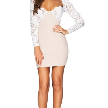 Handle With Care White Lace Long Sleeve Sweetheart Neck Bodycon Bandage Mini Dress