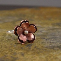 Copper Double Cherry blossom RIng by Hapagirls on Etsy
