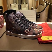 Best Online Sale Supreme x LOUlS VUlTTON LV Fashion Stellar Sneaker Boot Luxury High top Sneaker Shoes - 01