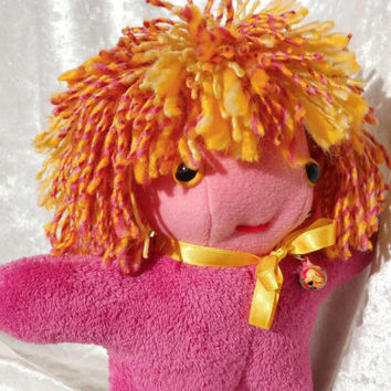 PINK-SUNNY Fire-Head Wild Hair Happy Cute DOLL - Home Decor Small Soft Dwarf Gnome Sprite Fairy Toy - Handmade Ooak tallhappycolors