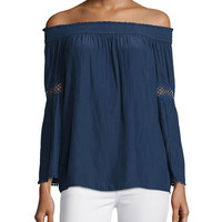 Ramy Brook Dali Off-The-Shoulder Long-Sleeve Top, Spring Navy