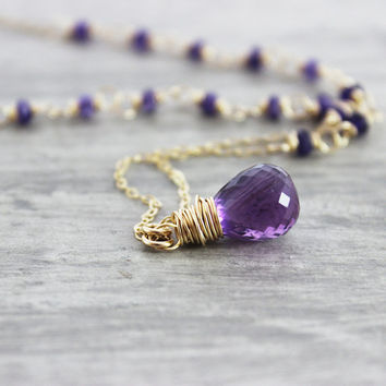 Amethyst Gold Necklace, Beaded Gemstone Necklace, Purple Amethyst Necklace, Wire Wrap Necklace, Gold Filled Necklace, Rainbow Moonstone