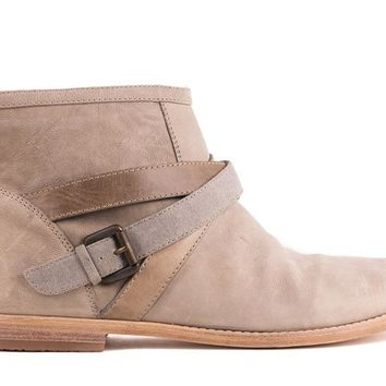 Brunello Cucinelli Taupe Leather Strappy Ankle Boots