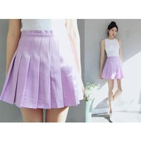 Inset Shorts Pleated A-Line Skirt
