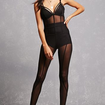 Strappy Mesh Jumpsuit