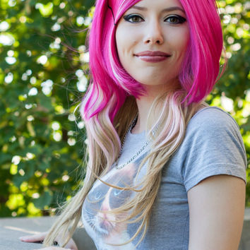 ON SALE // Hot Pink, Cotton Candy Pink and Honey Blonde / Long Wavy Layered Wig