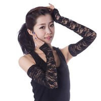 Summer UV sunscreen Gloves Long Sleeve lace cuff modal cotton Fingerless female thin arm sleeve hole