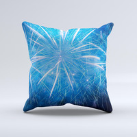 Blue Fireworks Ink-Fuzed Decorative Throw Pillow