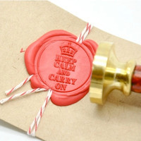 Personalized Keep Calm and Carry on Gold Plated Wax Seal Stamp x 1