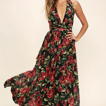 Sweet Heaven Black Floral Print Maxi Dress