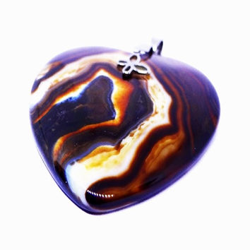 Womens Coffee Striped Onyx Agate Heart Shaped Pendant Necklace with Charm