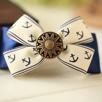Hair Bow Vintage Inspired 1920s Creme with Dark Blue Anchors Clip from ClothLess