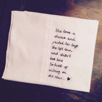 Embroidered 5SOS Lyrics Pillow Case