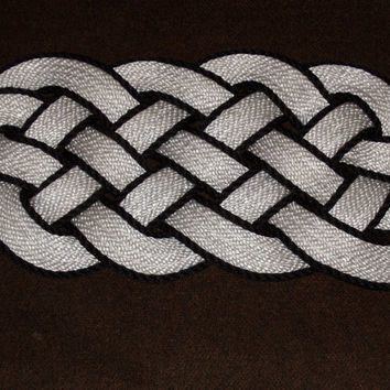 "White and Black  Accented Doormat 30 x 12"" Rope Rug Beautiful Nautical Door mat Knotted"