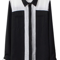 Color Block Shirt Collar Chiffon Shirt