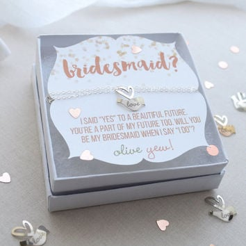 Be My Bridesmaid Lovebird Necklace - engraved name necklace, silver, gold, rose gold - 1369