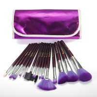 16 PC Cosmetic Makeup Beauty Blending Countouring Purple Blush Powder Brush Set