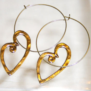 Loving Hearts Gold Hoop Earrings. Hammered Gold Asymetrical Hearts. Distressed Gold Heart Hoops. Gold Earrings. Jewelry Sale. Heart Earrings