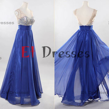 V neck and back style chiffon with crystal and sequins top  Prom Dress Formal Evening Dress Party Dress with sequins beads sash