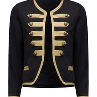 Black Collarless Button Front Vintage Royal Court Jacket