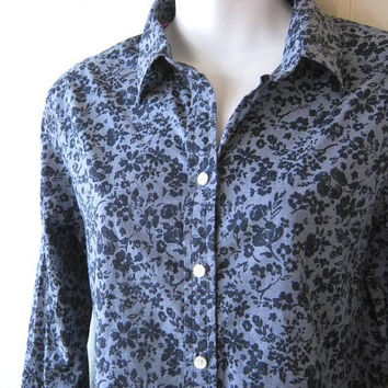 Blue Floral Burnout Print Long-Sleeve Cotton Shirt; Women's Small-Medium Button Up Top for Work/Dates/Social/Casual; U.S. Shipping Included