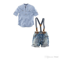 Children Clothes 2014 Boys summer short-sleeved Shirt+ casual denim sling strap Pants 2 pc Sets. Baby Set