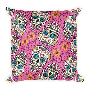 Sugar Skull Day of the Dead PINK Square Pillow
