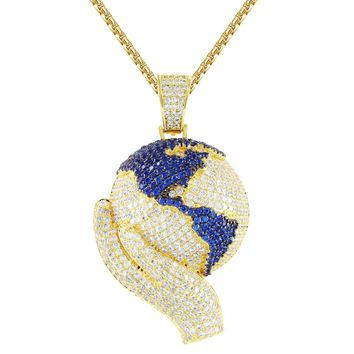 Hand Holding World Globe Map Silver IcedOut Pendant Chain