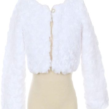 White Fur Cropped Length Jacket with Pearl Button Closure & Satin Lining (Girls 2T to Size 12)