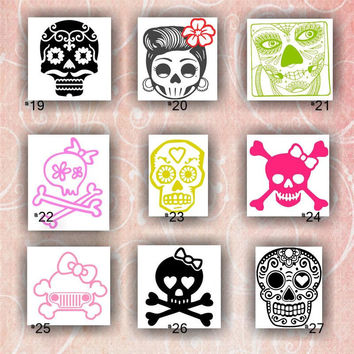 GIRLY SKULLS vinyl decals - 19-27 - vinyl stickers - car decal - skulls with bows - girl skull - cute skulls - custom vinyl decal