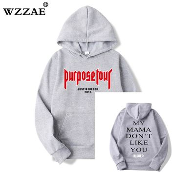 2018 New Winter Fleece Justin Bieber men and woman Hoodies & Sweatshirts Pure Cotton Single Men Hoodies Purpose Tour