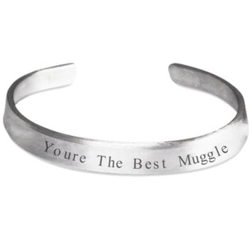 Best Muggle Bracelet Inspiration Bracelet Jewelry for Women Men Happiness Gift 2017 One Size Fits All Handmade Unique Stamp Spirituality Jewelry 100% Hand Polished 1100 Pure Aluminum Made In USA