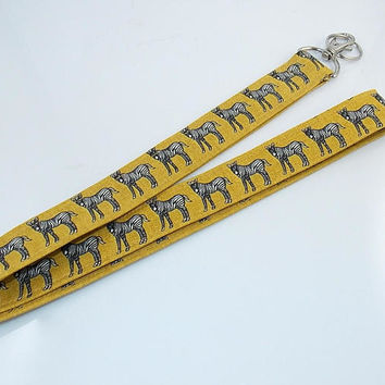 Zebra Lanyard Teacher Lanyard Animal Lanyard Fabric Lanyard Nurse Lanyard Zoo Animal Lanyard Work Lanyard Zebra Necklace Zebra Key Ring