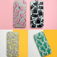 Funny Cute Cartoon Eyes Move Cat French fries banana Popcorn Donuts Wing Case For iPhone 4 5 6 7 S Plus SE 5C Samsung