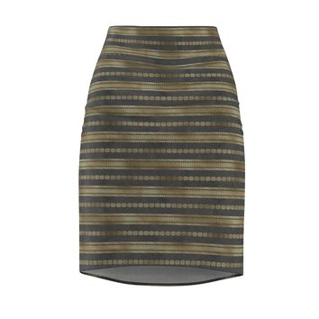 Bohemian Gray and Gold Pencil Skirt