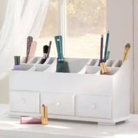 Vanity n Beauty Organizer with Drawers & Storage in White